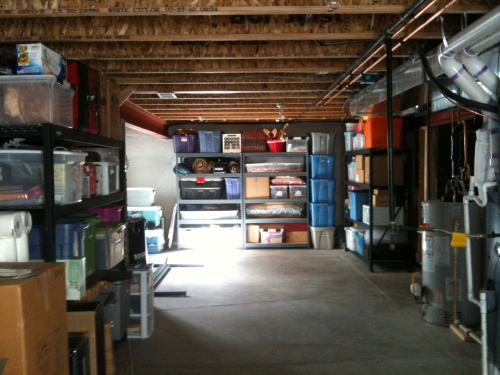organized storage in basement