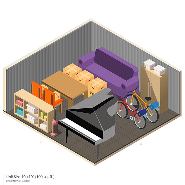 10 x 10 Storage Unit Space guide