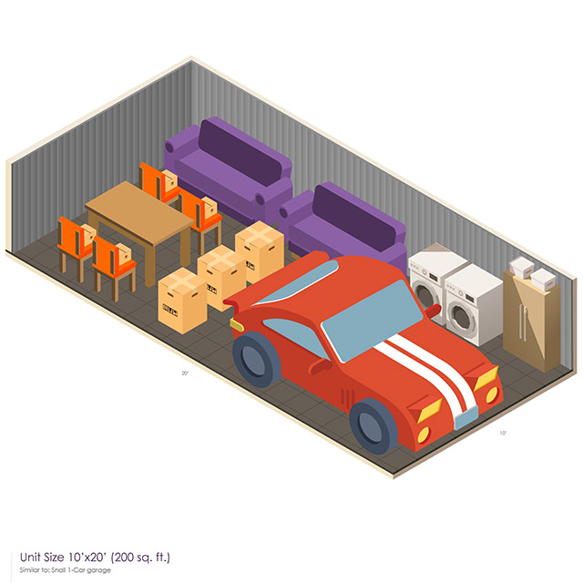 10 x 20 Storage Unit Space guide