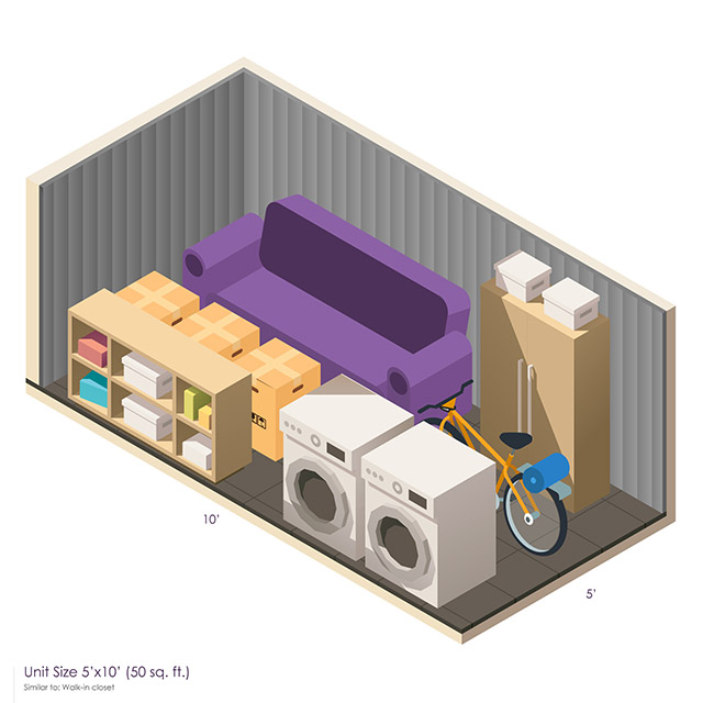 5 x 10 Storage Unit Space guide
