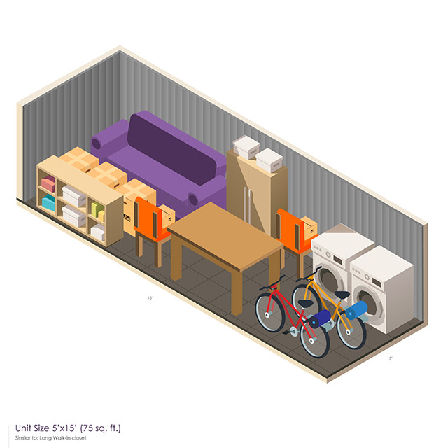 5 x 15 Storage Unit Space guide